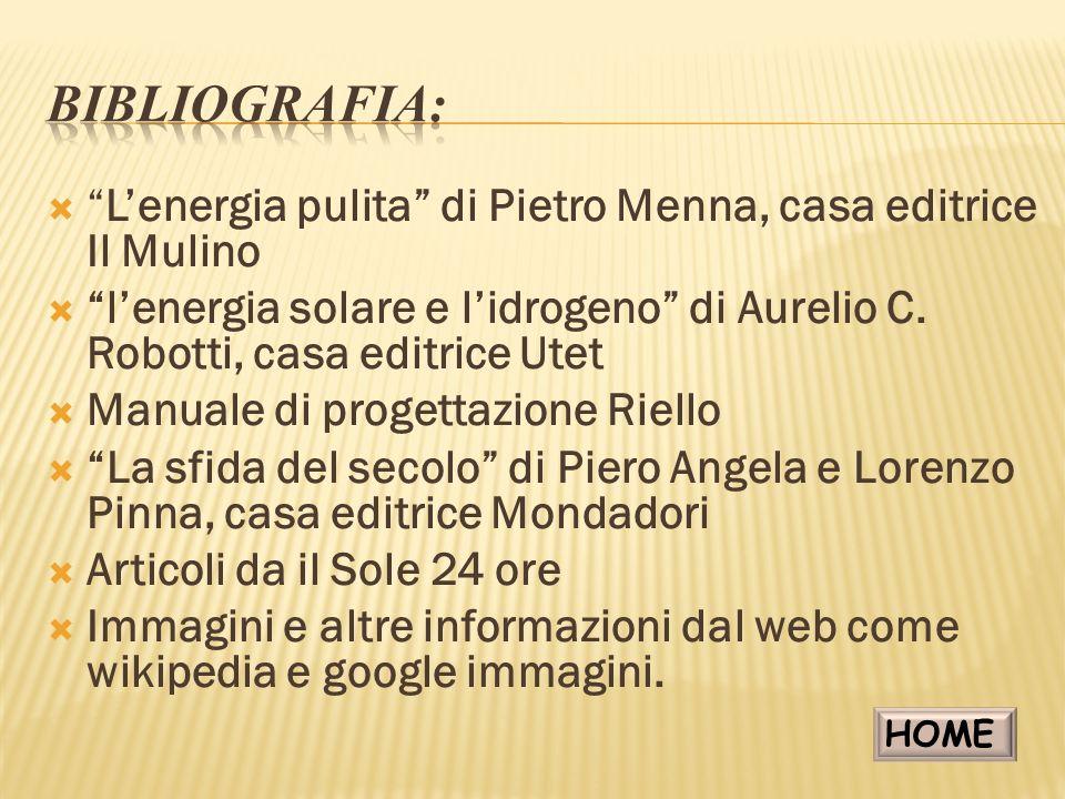 Bibliografia: L'energia pulita di Pietro Menna, casa editrice Il Mulino. l'energia solare e l'idrogeno di Aurelio C. Robotti, casa editrice Utet.