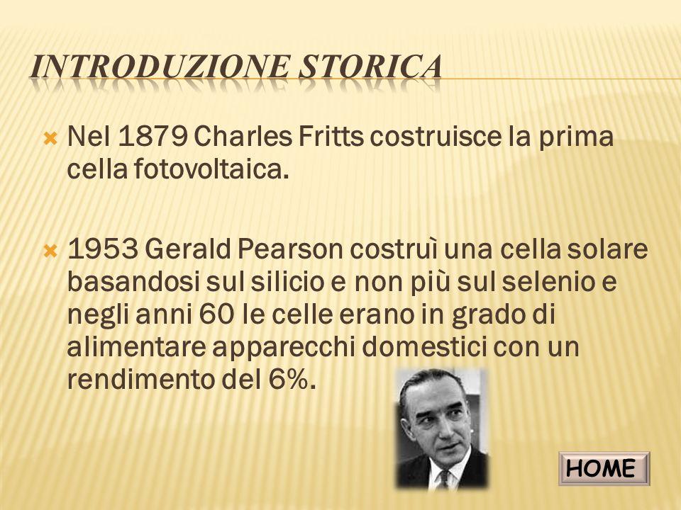 INTRODUZIONE STORICA Nel 1879 Charles Fritts costruisce la prima cella fotovoltaica.
