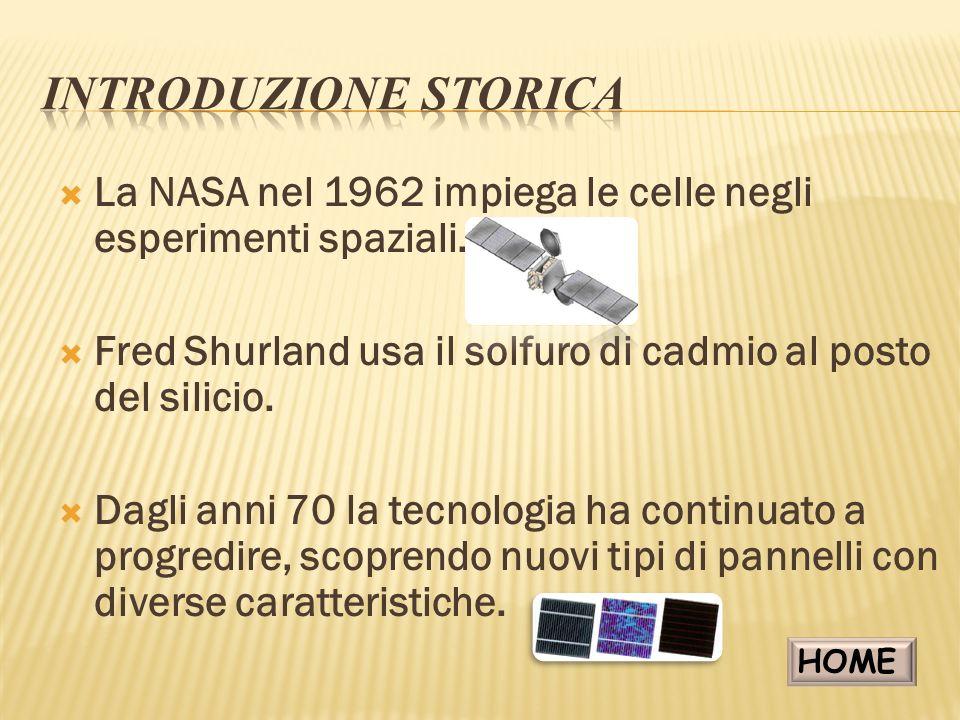 INTRODUZIONE STORICA La NASA nel 1962 impiega le celle negli esperimenti spaziali. Fred Shurland usa il solfuro di cadmio al posto del silicio.