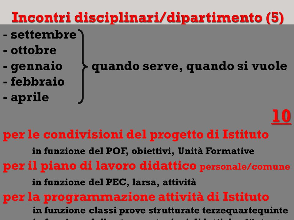 Incontri disciplinari/dipartimento (5)