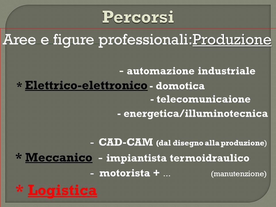 Percorsi Aree e figure professionali:Produzione * Logistica