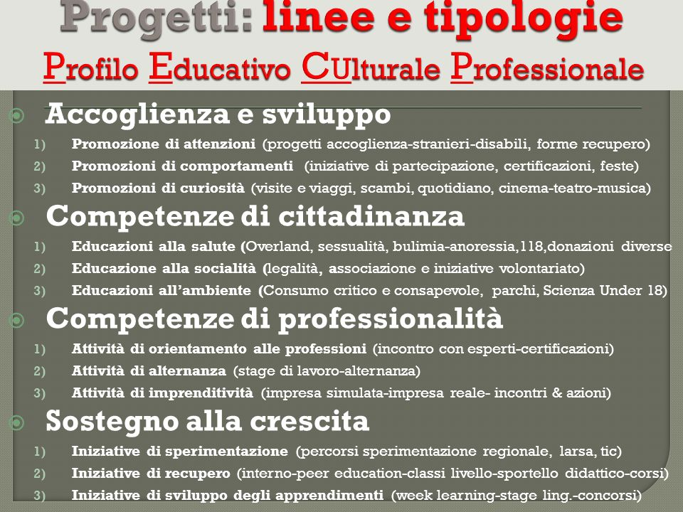 Progetti: linee e tipologie Profilo Educativo CUlturale Professionale
