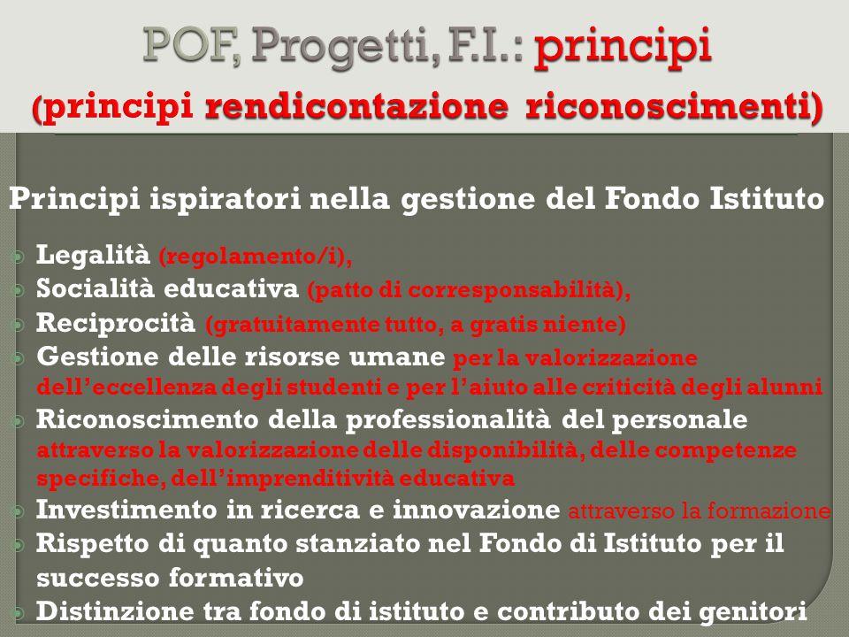 POF, Progetti, F.I.: principi (principi rendicontazione riconoscimenti)