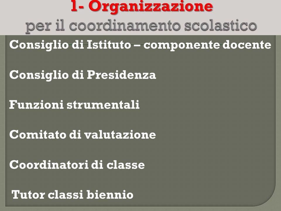1- Organizzazione per il coordinamento scolastico