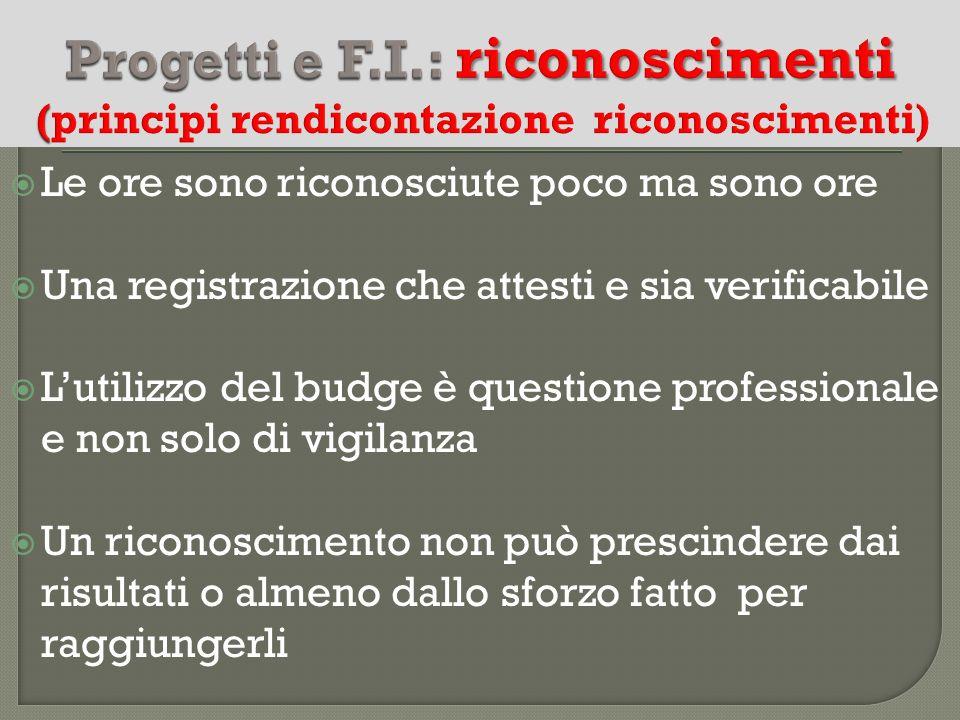 Progetti e F.I.: riconoscimenti (principi rendicontazione riconoscimenti)