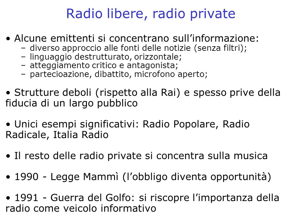 Radio libere, radio private