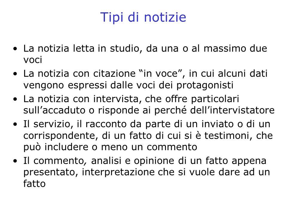 Tipi di notizie La notizia letta in studio, da una o al massimo due voci.
