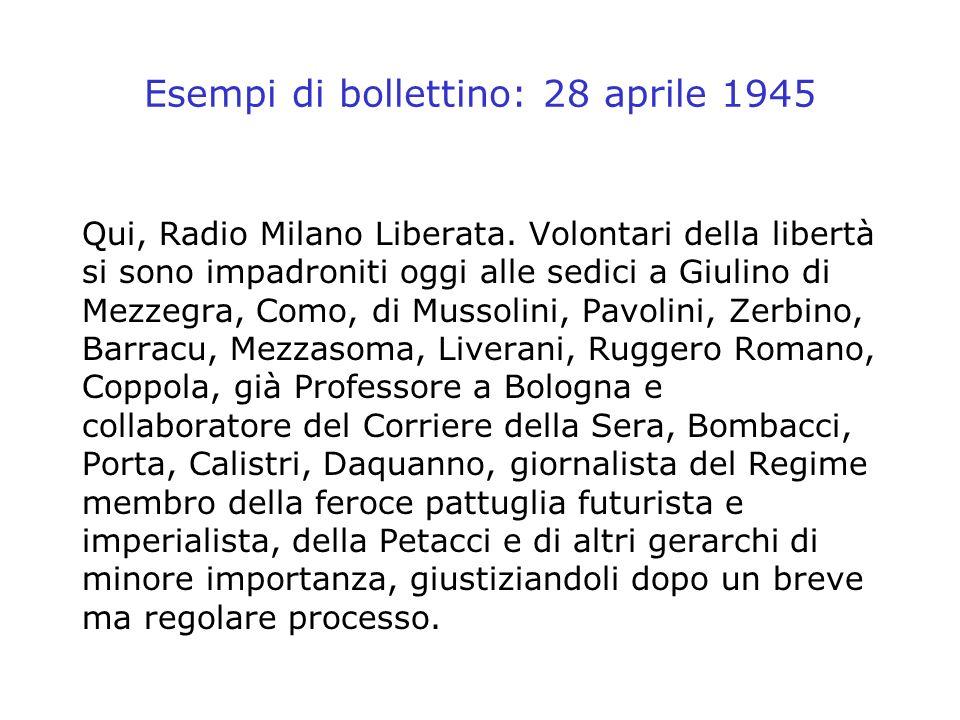 Esempi di bollettino: 28 aprile 1945