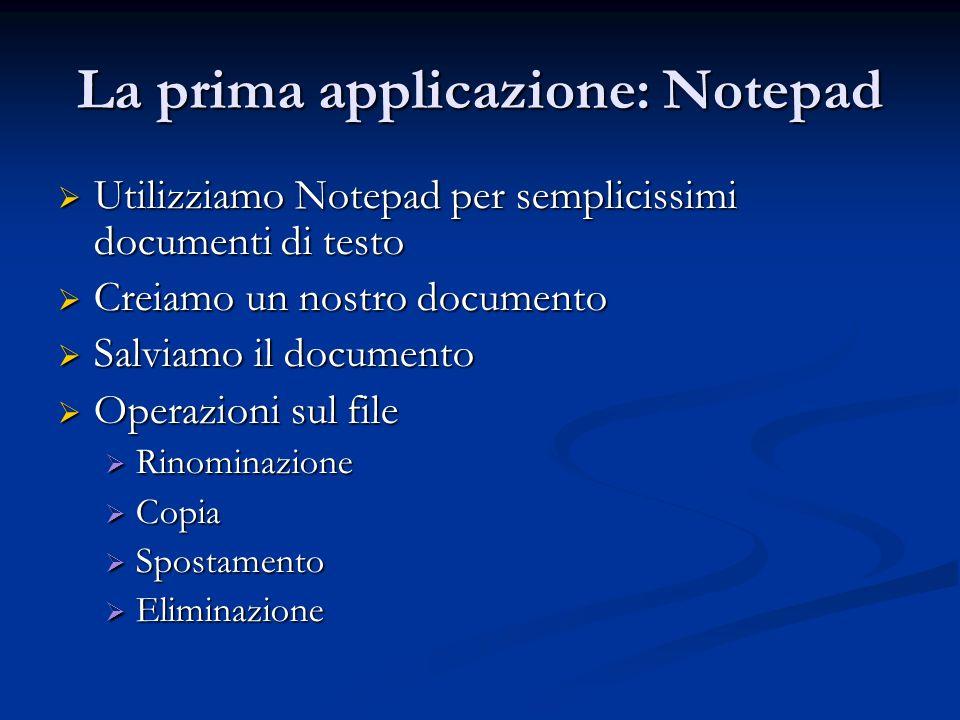 La prima applicazione: Notepad