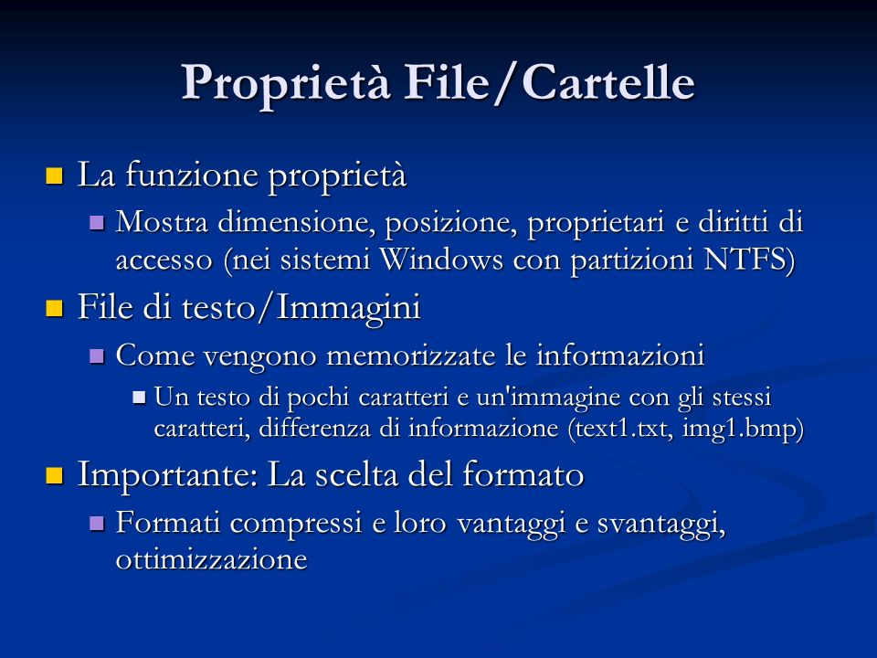 Proprietà File/Cartelle