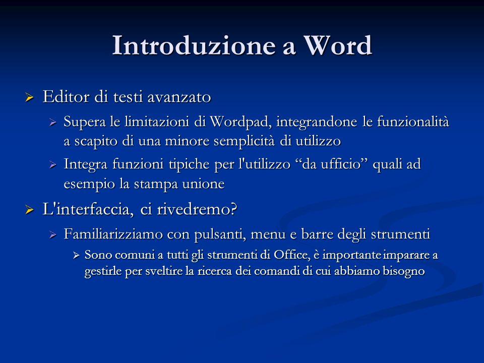 Introduzione a Word Editor di testi avanzato