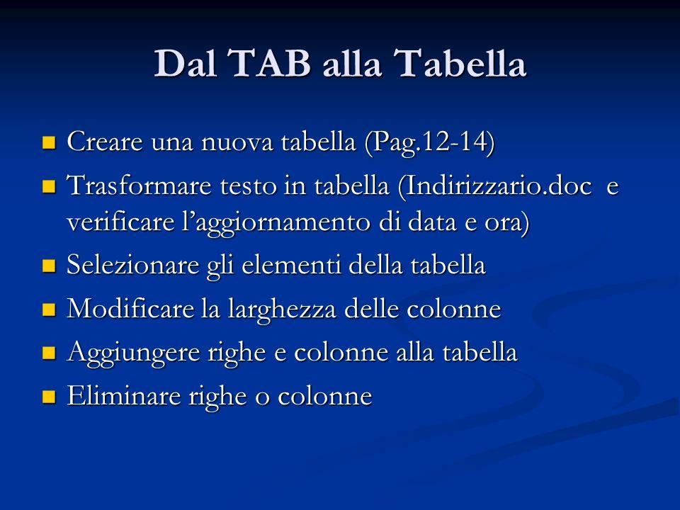 Dal TAB alla Tabella Creare una nuova tabella (Pag.12-14)