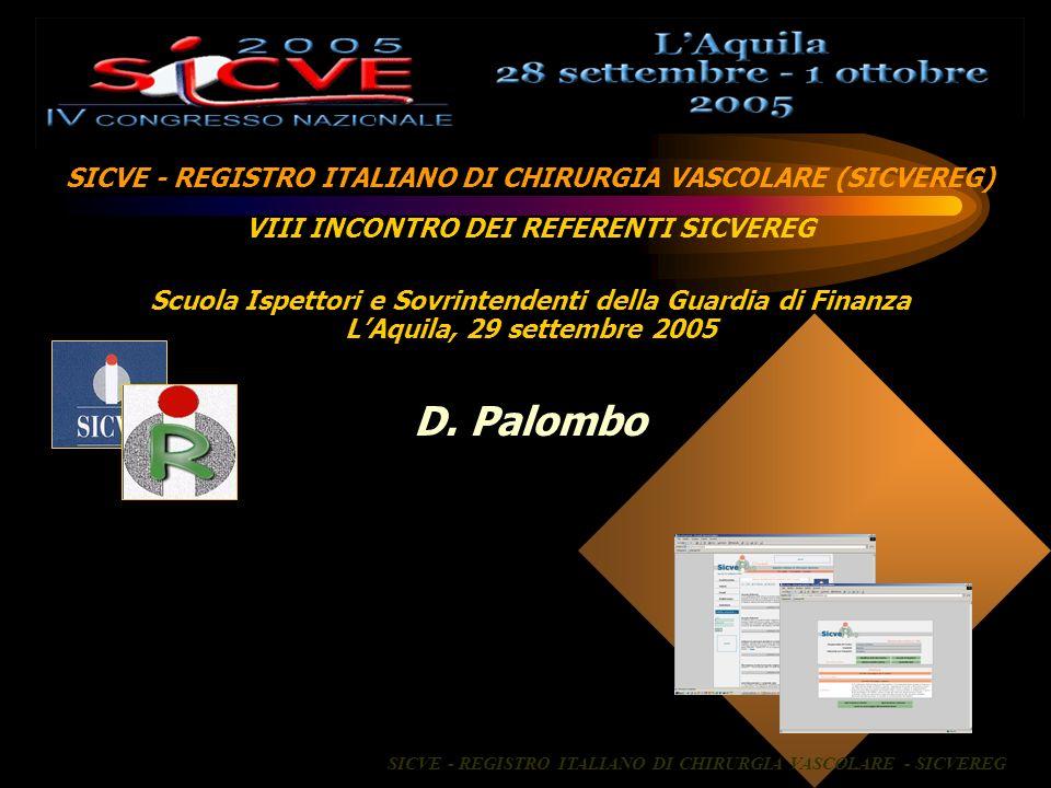 D. Palombo SICVE - REGISTRO ITALIANO DI CHIRURGIA VASCOLARE (SICVEREG)
