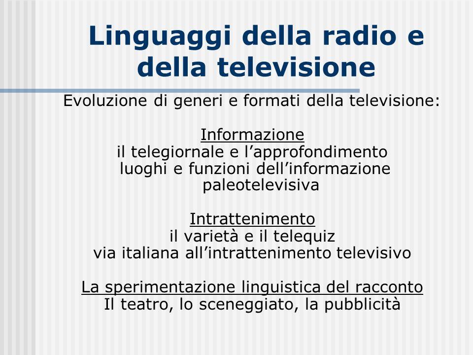 Linguaggi della radio e della televisione