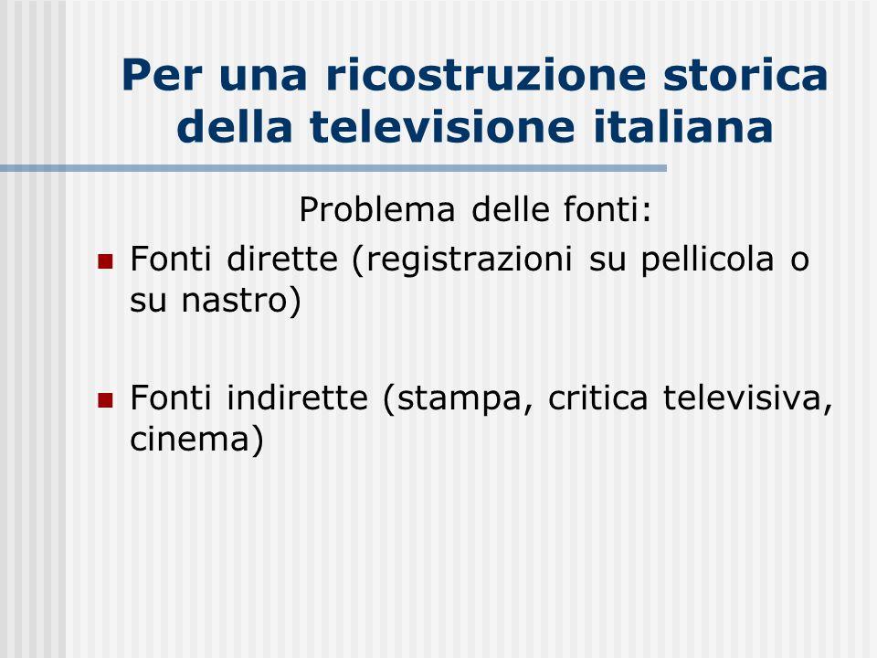 Per una ricostruzione storica della televisione italiana