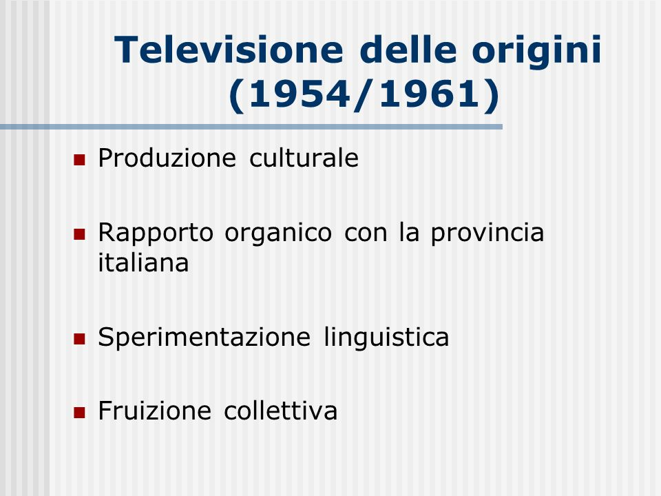 Televisione delle origini (1954/1961)