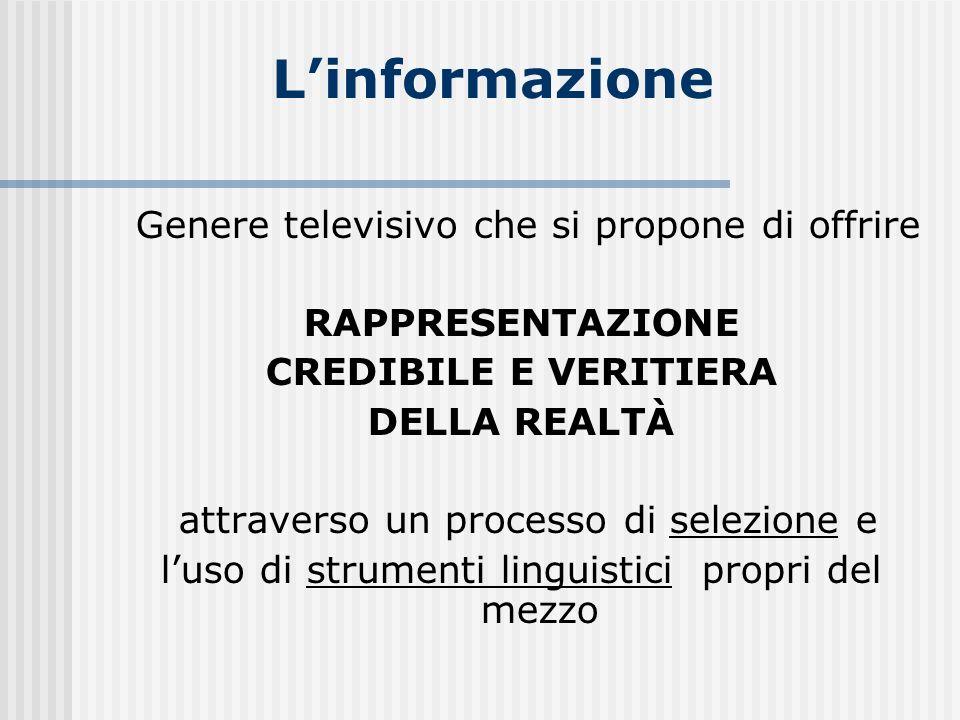 L'informazione Genere televisivo che si propone di offrire
