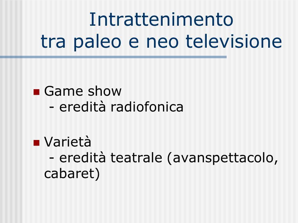 Intrattenimento tra paleo e neo televisione