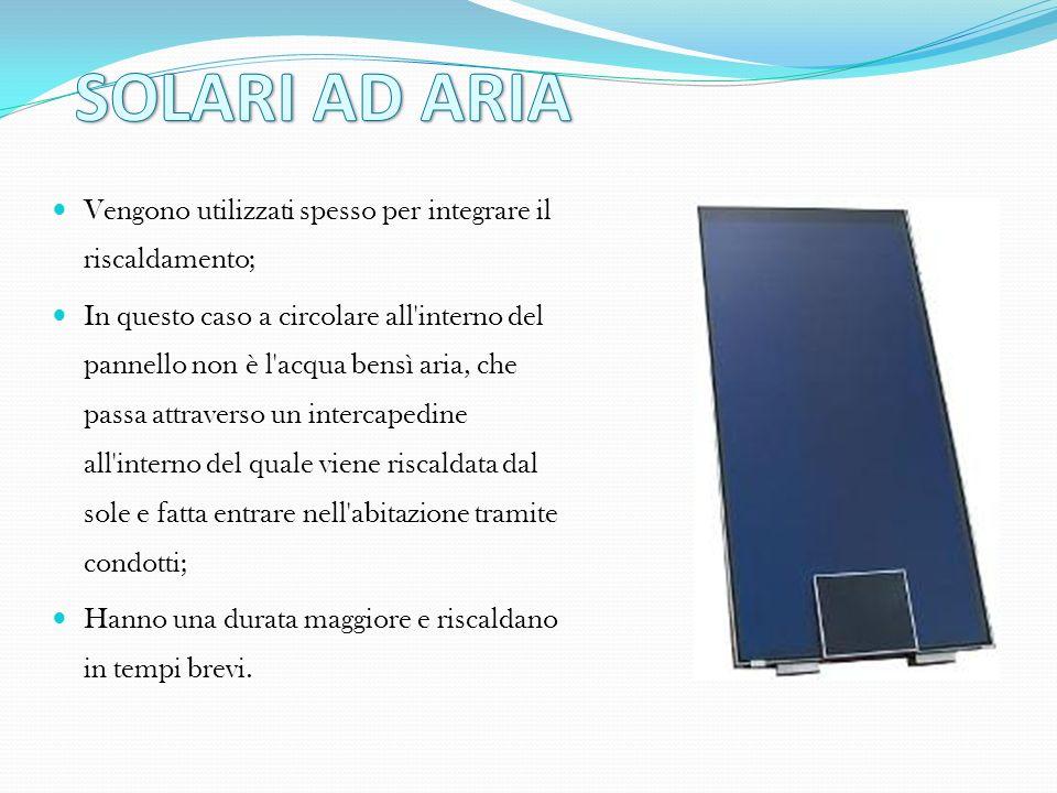 SOLARI AD ARIA Vengono utilizzati spesso per integrare il riscaldamento;