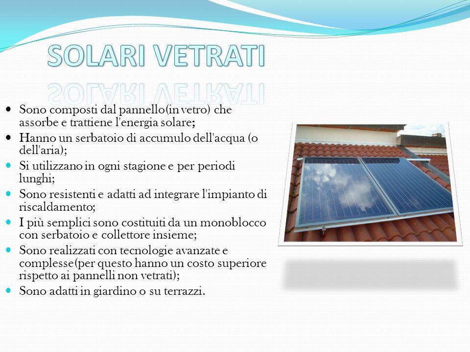 SOLARI VETRATI Sono composti dal pannello(in vetro) che assorbe e trattiene l energia solare;