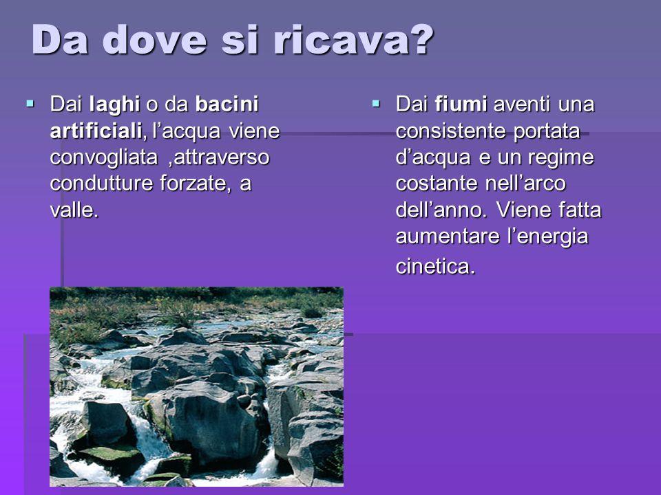 Da dove si ricava Dai laghi o da bacini artificiali, l'acqua viene convogliata ,attraverso condutture forzate, a valle.