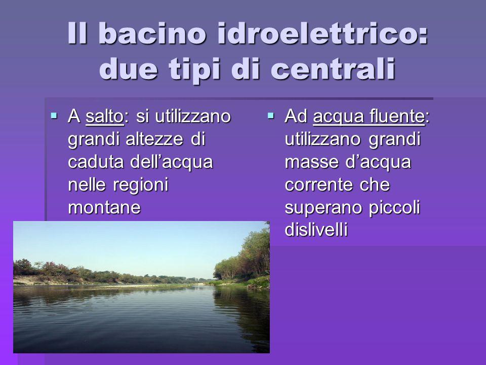 Il bacino idroelettrico: due tipi di centrali