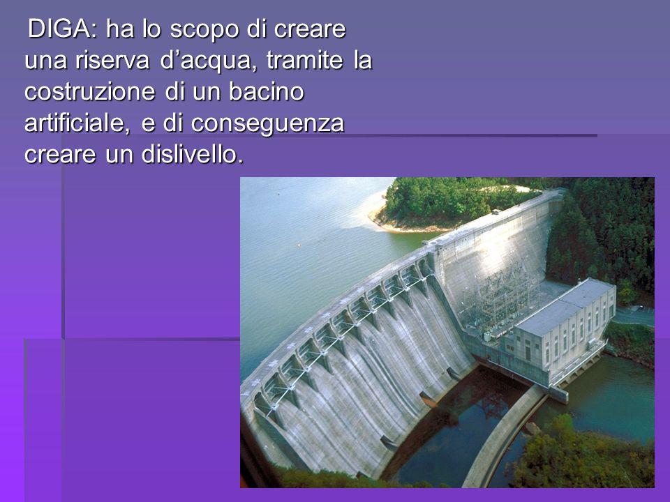 DIGA: ha lo scopo di creare una riserva d'acqua, tramite la costruzione di un bacino artificiale, e di conseguenza creare un dislivello.