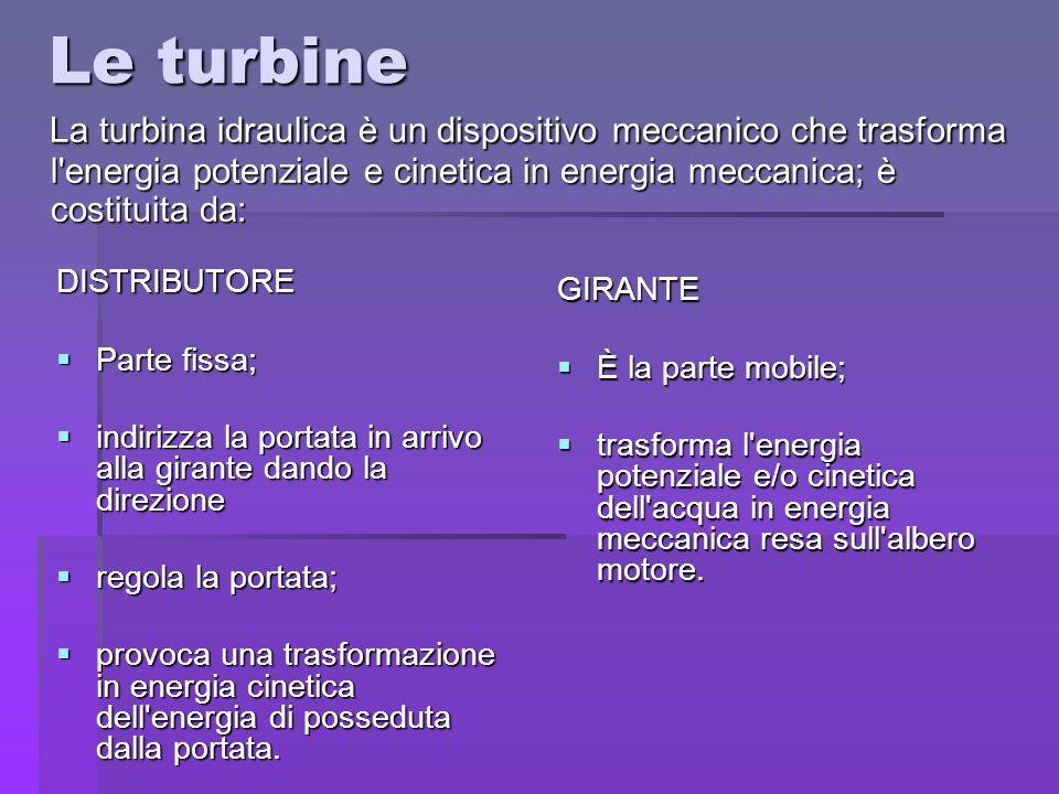 Le turbine La turbina idraulica è un dispositivo meccanico che trasforma l energia potenziale e cinetica in energia meccanica; è costituita da: