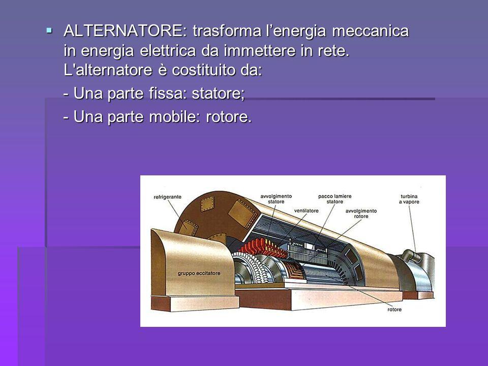 ALTERNATORE: trasforma l'energia meccanica in energia elettrica da immettere in rete. L alternatore è costituito da: