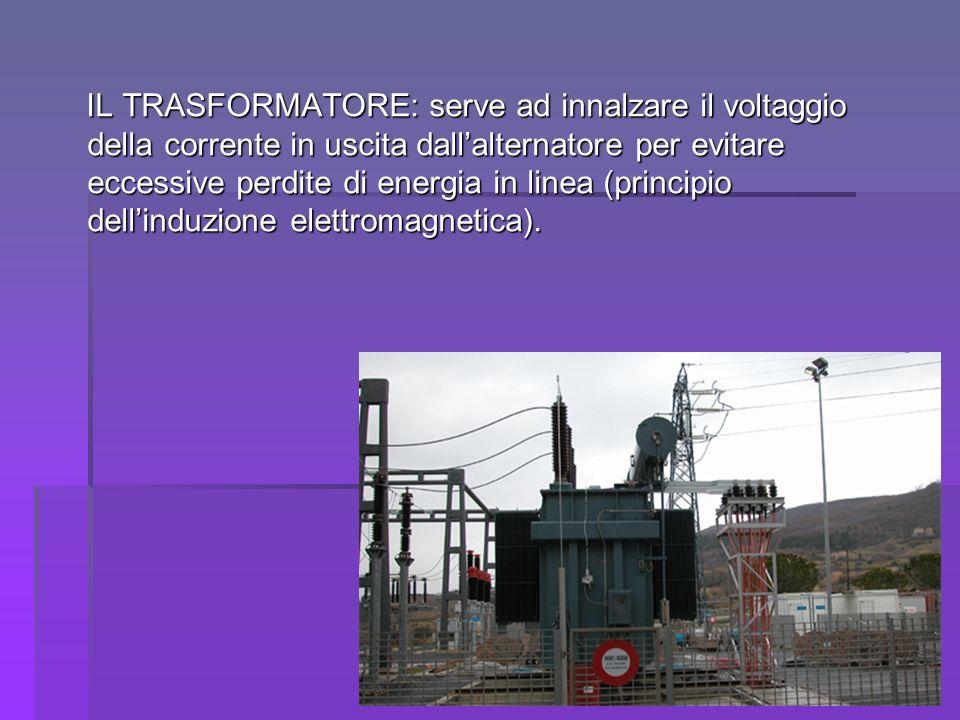 IL TRASFORMATORE: serve ad innalzare il voltaggio della corrente in uscita dall'alternatore per evitare eccessive perdite di energia in linea (principio dell'induzione elettromagnetica).