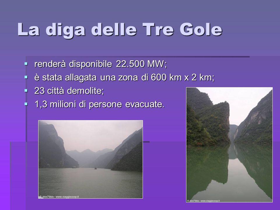 La diga delle Tre Gole renderà disponibile 22.500 MW;