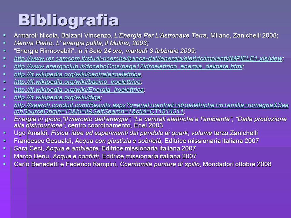 Bibliografia Armaroli Nicola, Balzani Vincenzo, L'Energia Per L'Astronave Terra, Milano, Zanichelli 2008;