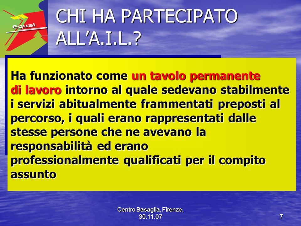 CHI HA PARTECIPATO ALL'A.I.L.