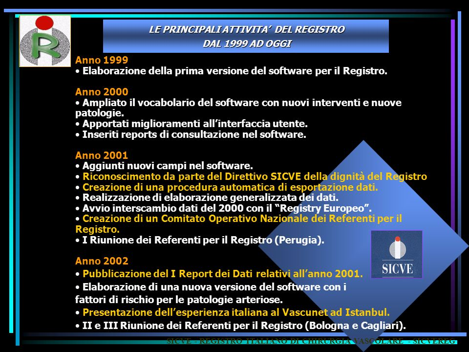 Elaborazione della prima versione del software per il Registro.