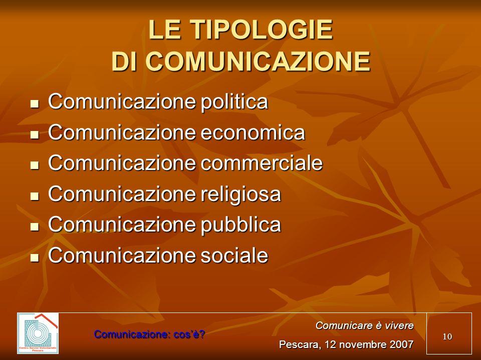 LE TIPOLOGIE DI COMUNICAZIONE