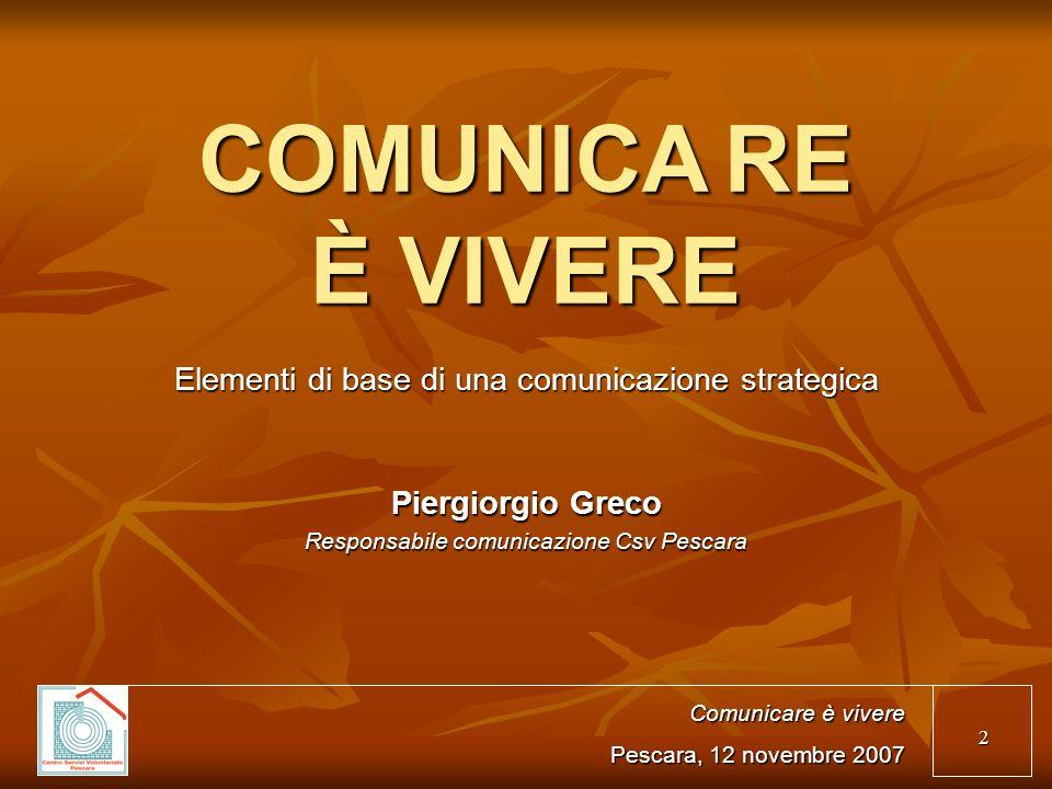Elementi di base di una comunicazione strategica