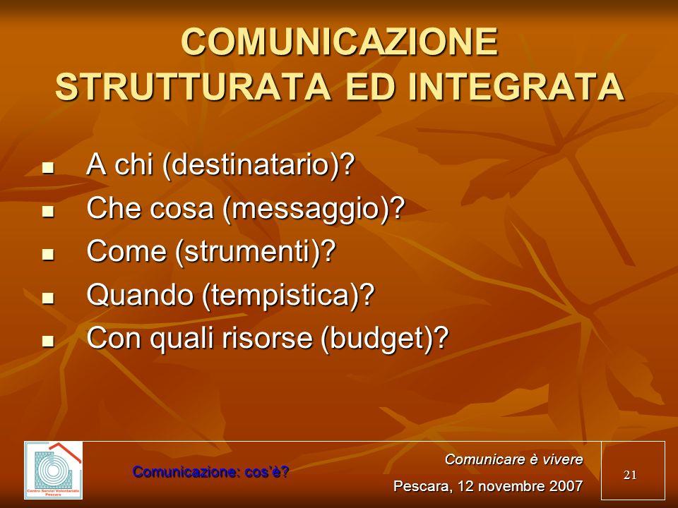 COMUNICAZIONE STRUTTURATA ED INTEGRATA