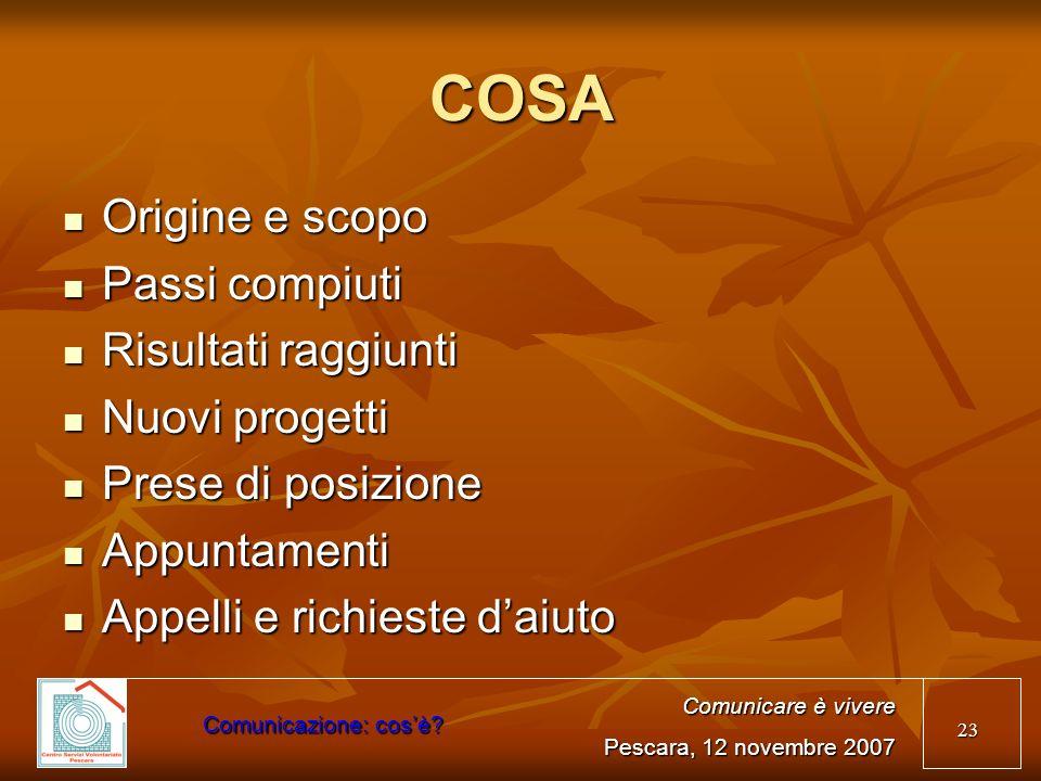 COSA Origine e scopo Passi compiuti Risultati raggiunti Nuovi progetti