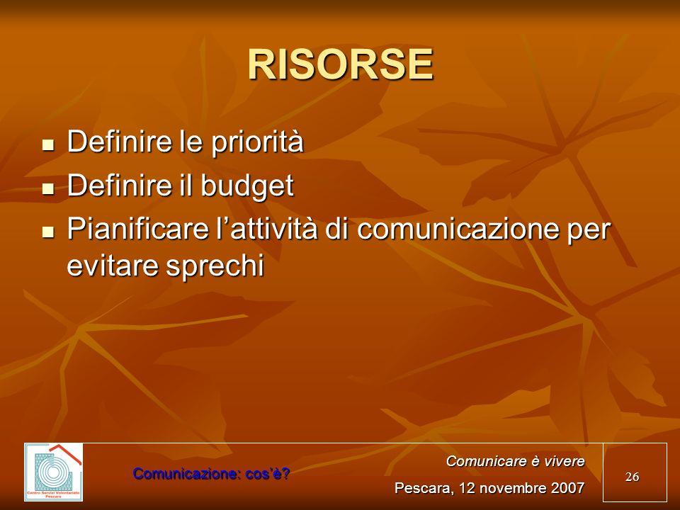 RISORSE Definire le priorità Definire il budget