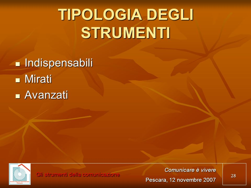 TIPOLOGIA DEGLI STRUMENTI