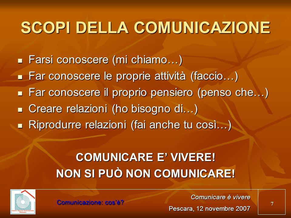 SCOPI DELLA COMUNICAZIONE