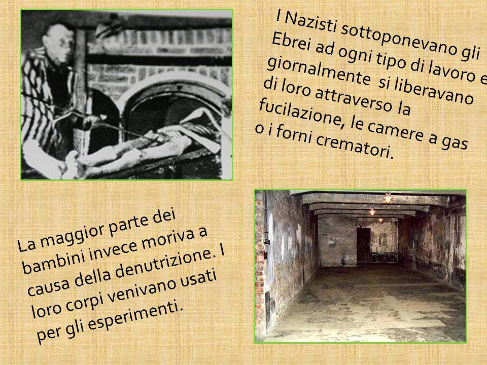 I Nazisti sottoponevano gli Ebrei ad ogni tipo di lavoro e giornalmente si liberavano di loro attraverso la fucilazione, le camere a gas o i forni crematori.