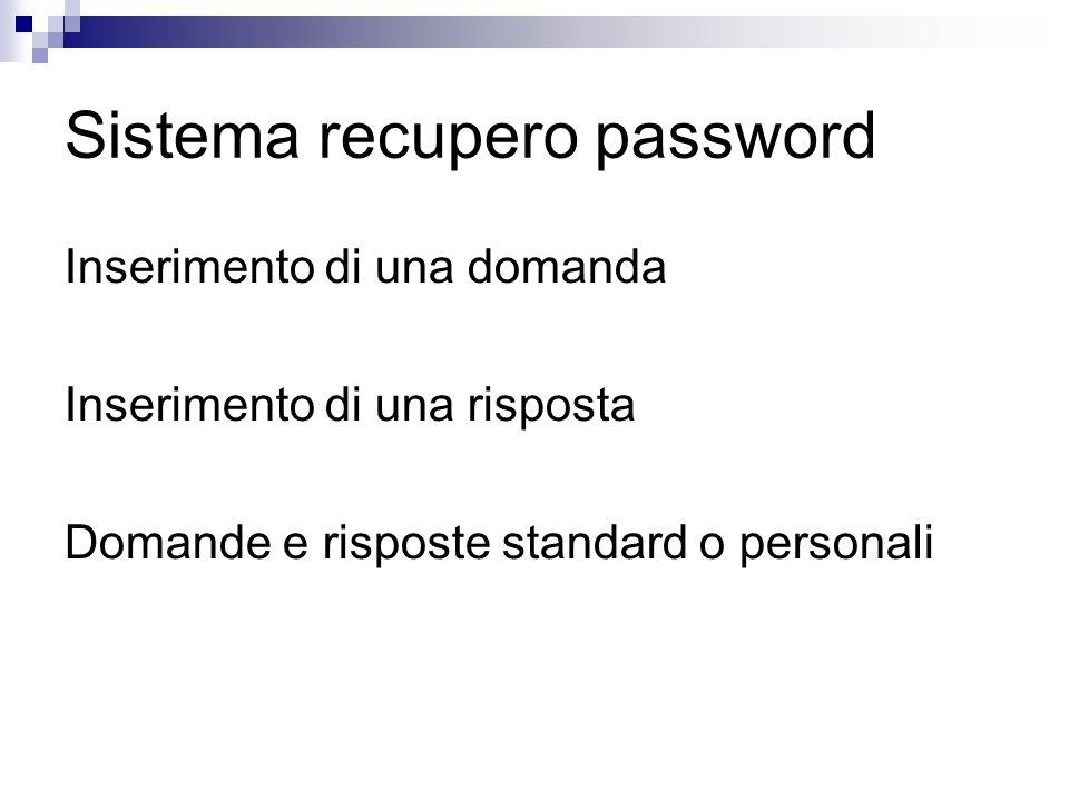 Sistema recupero password
