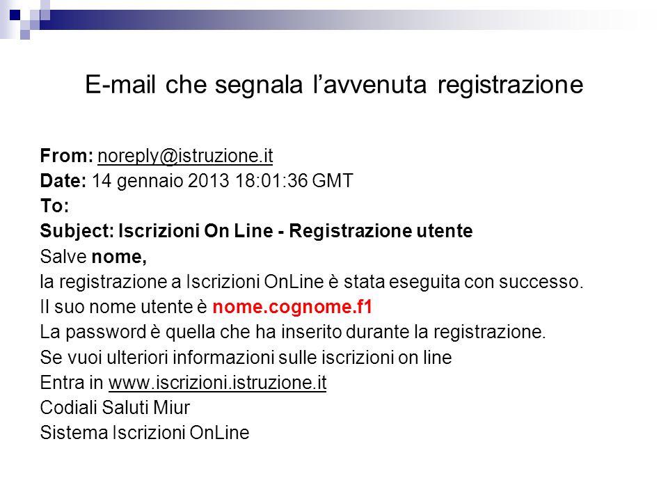 E-mail che segnala l'avvenuta registrazione