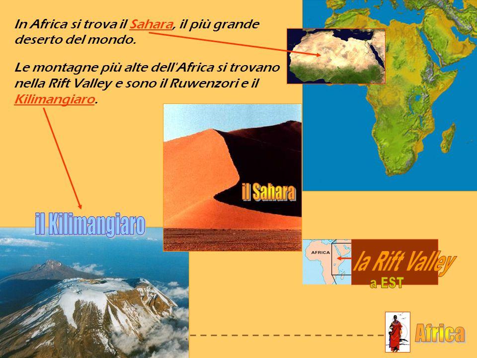 NORD EST OVEST il Sahara il Kilimangiaro la Rift Valley a EST Africa