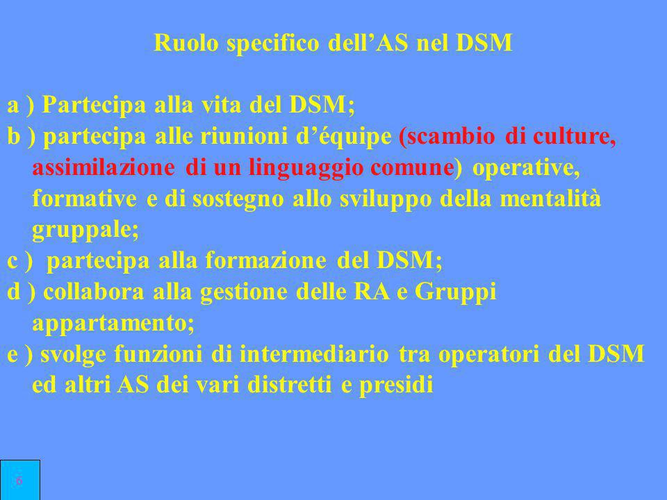 Ruolo specifico dell'AS nel DSM