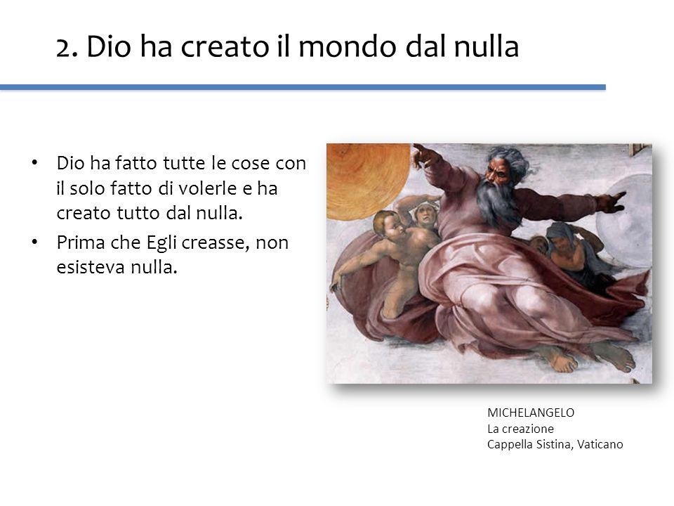 2. Dio ha creato il mondo dal nulla