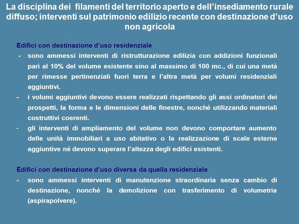 La disciplina dei filamenti del territorio aperto e dell'insediamento rurale diffuso; interventi sul patrimonio edilizio recente con destinazione d'uso non agricola