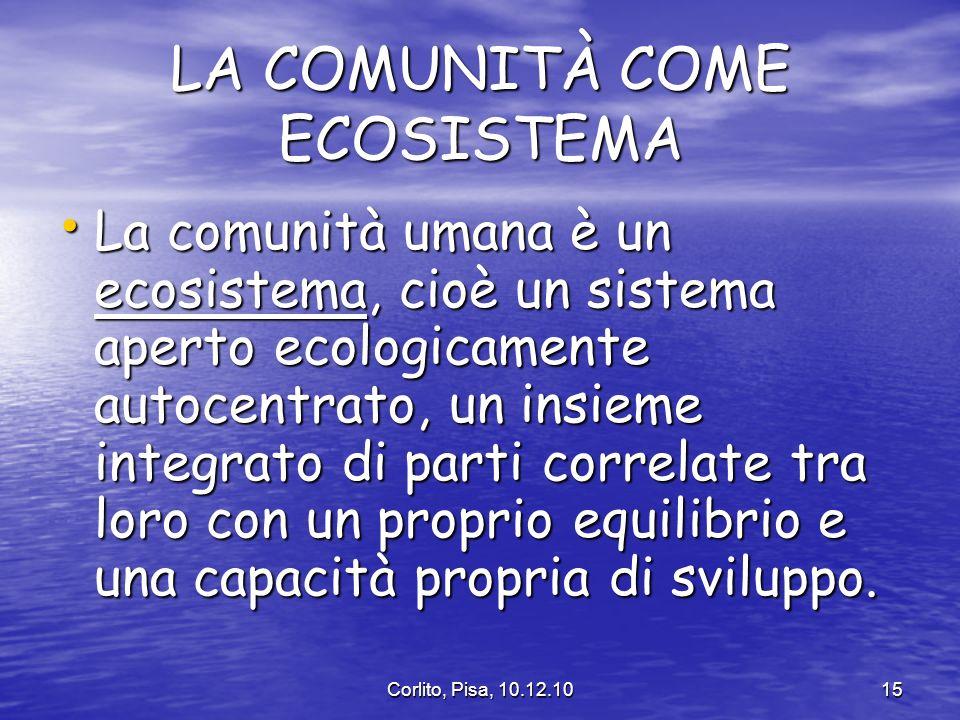 LA COMUNITÀ COME ECOSISTEMA