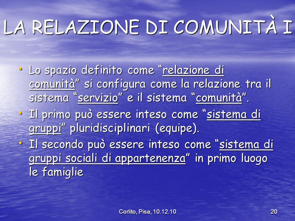 LA RELAZIONE DI COMUNITÀ I
